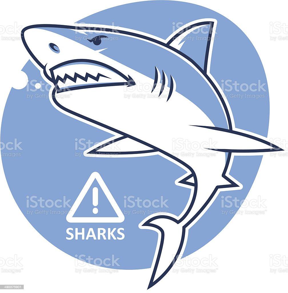 Evil shark warning sign vector art illustration