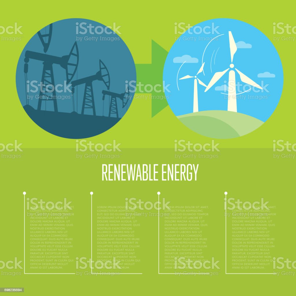 Evolution from industrial pollution to eco energy vector art illustration