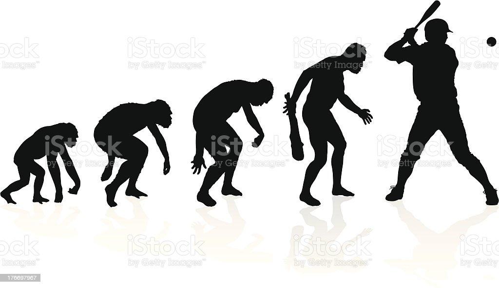 Evolution of a Baseball Player vector art illustration