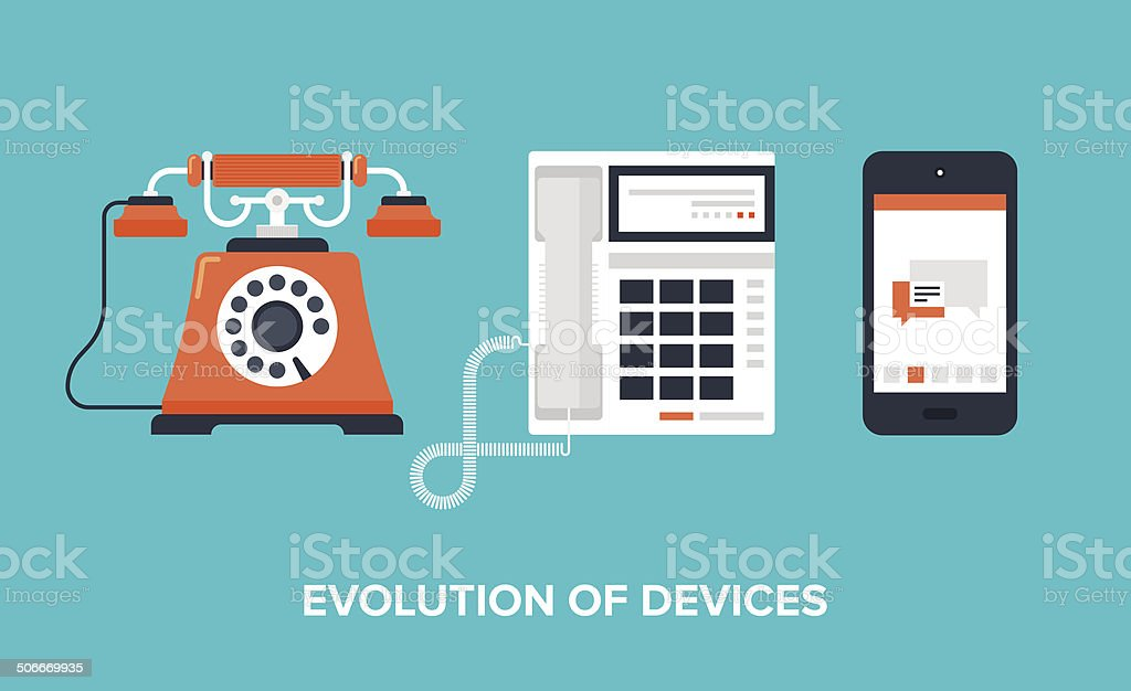 Evolution of devices vector art illustration