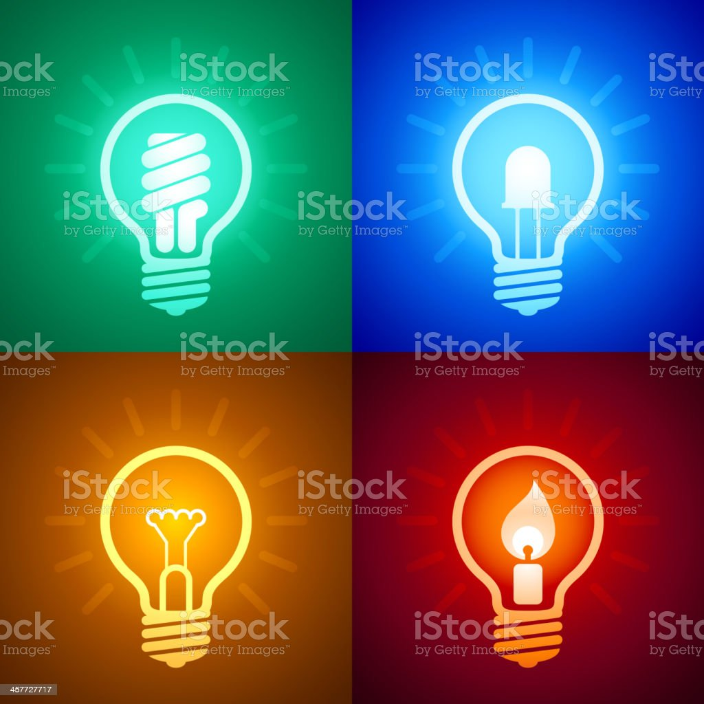 Evolution of lighting equipment vector art illustration