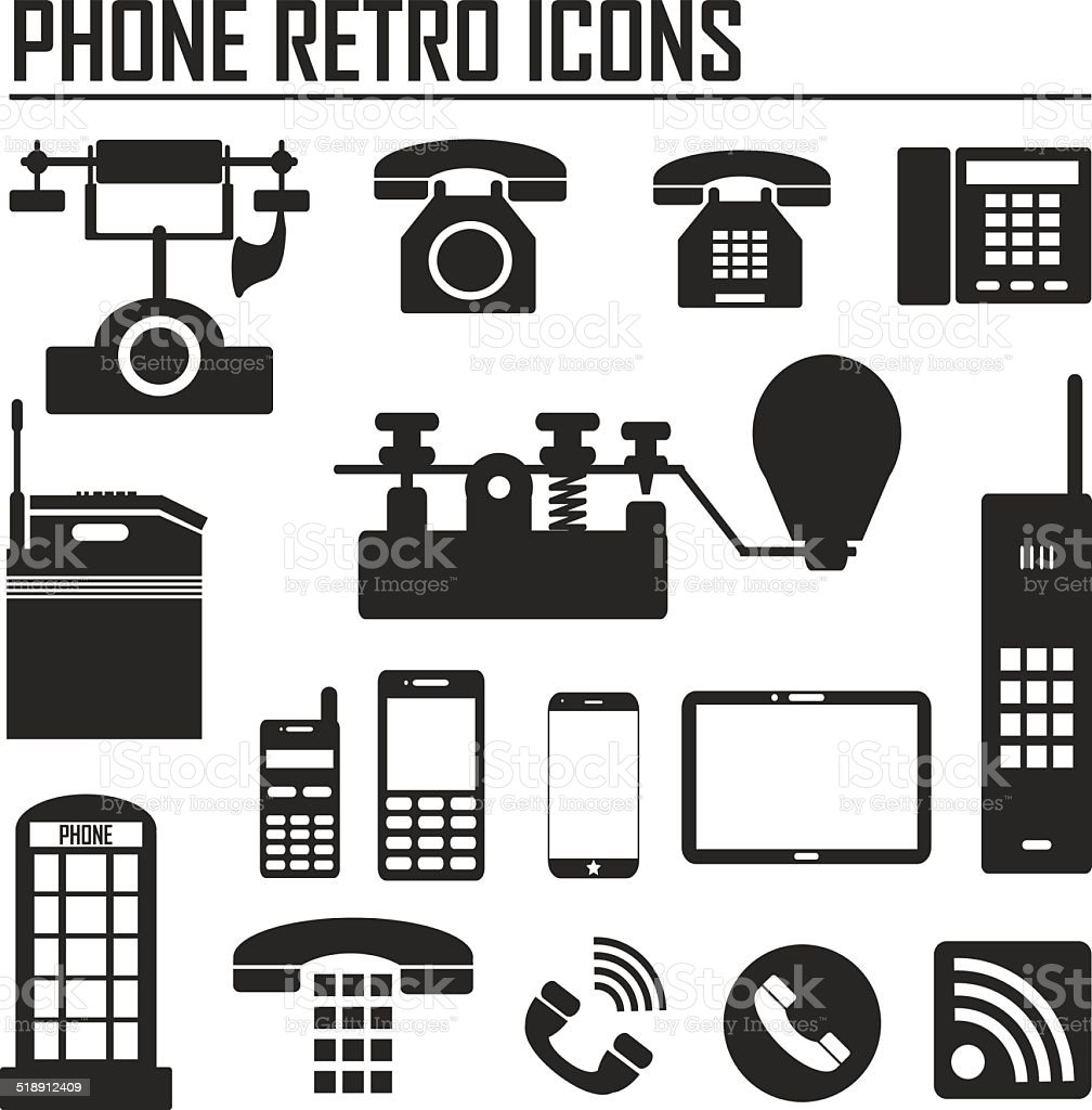 Evolution of phone and communication icons Vector illustration. vector art illustration