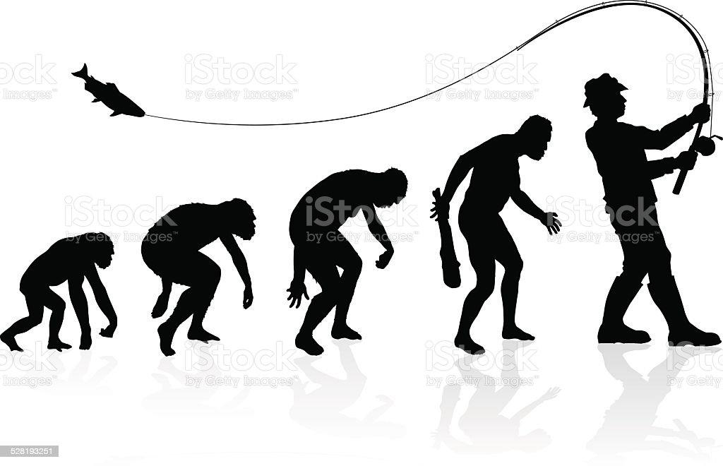 Evolution of the Fisherman vector art illustration