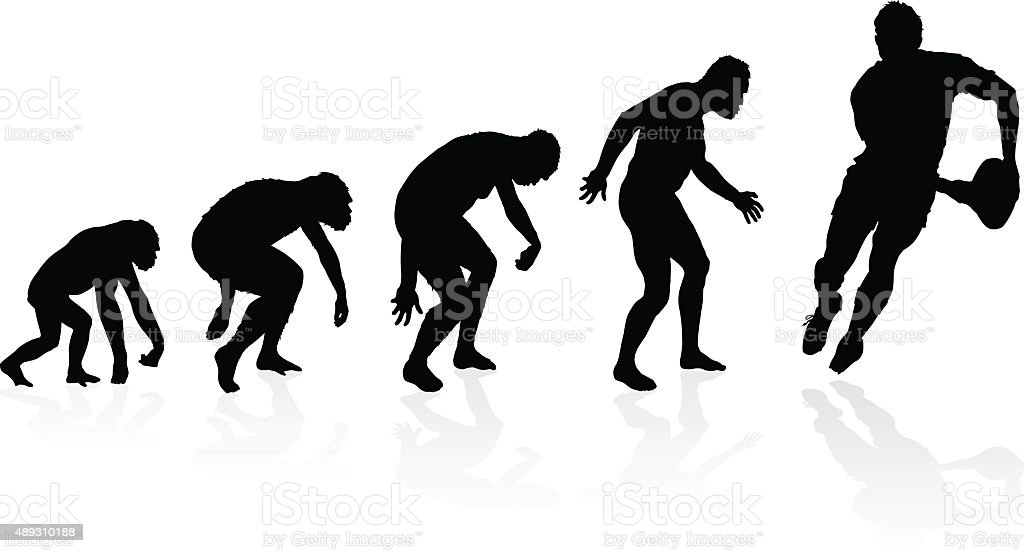 Evolution of the Rugby Player vector art illustration