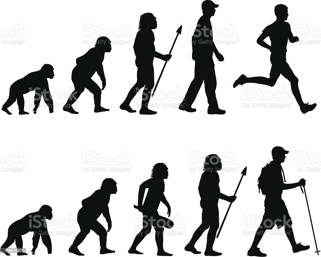 Evolution of the Runner and Hiker vector art illustration