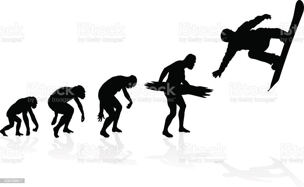 Evolution of the Snowboarder. vector art illustration