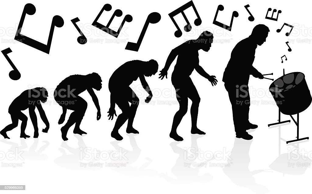 Evolution of the Steel Pan Player. vector art illustration