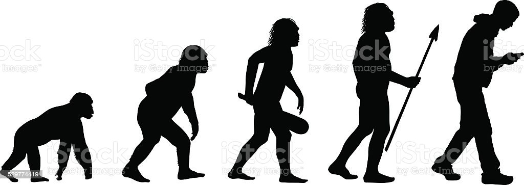 Evolution of the Texting Human vector art illustration