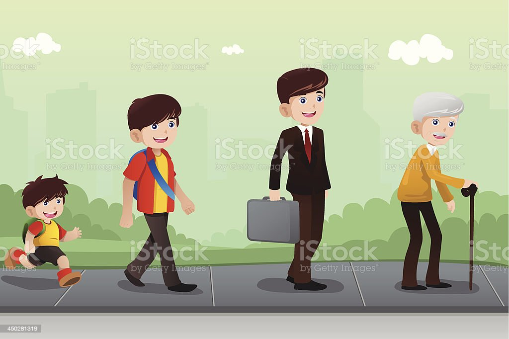 Evolution or aging concept vector art illustration