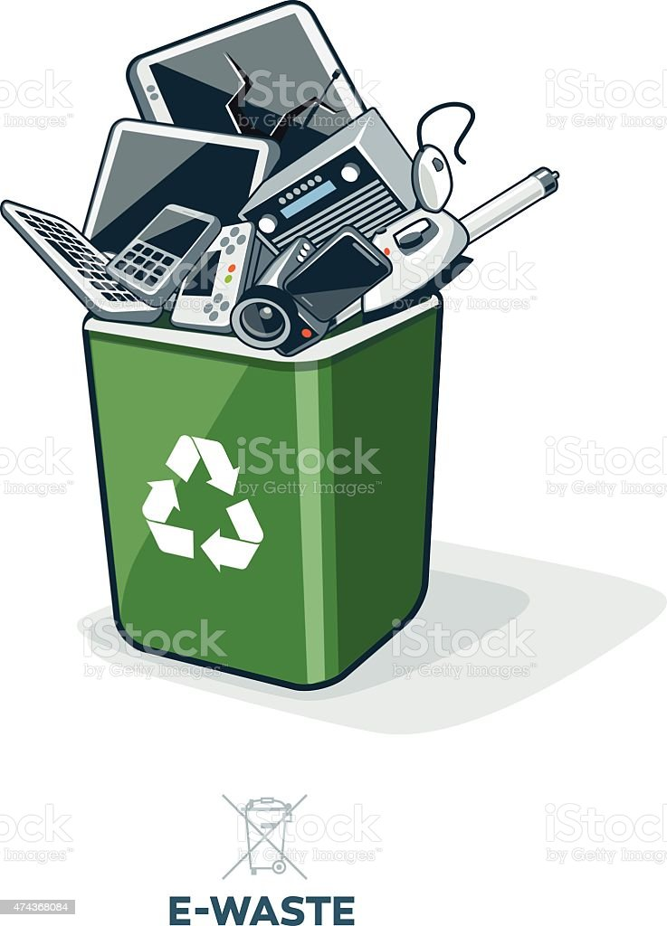 E-Waste in Recycling Bin vector art illustration