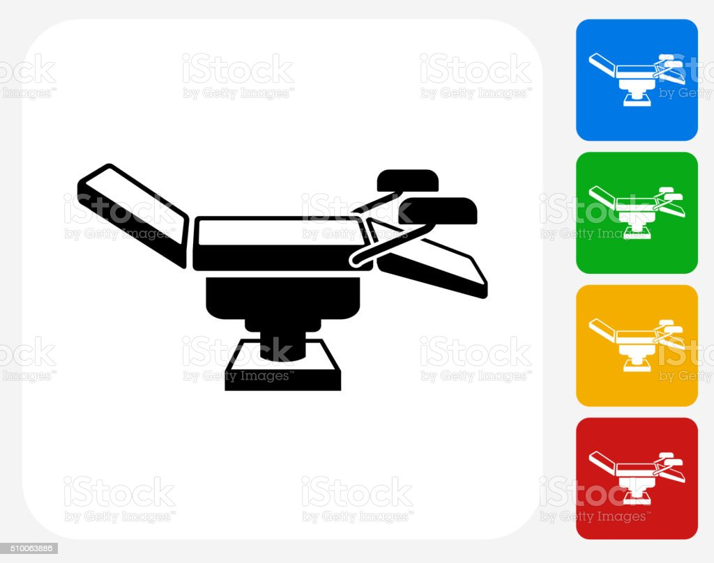 Examination Table Icon Flat Graphic Design vector art illustration