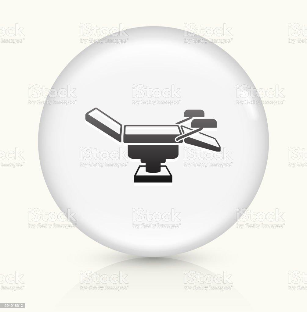 Examination Table icon on white round vector button vector art illustration