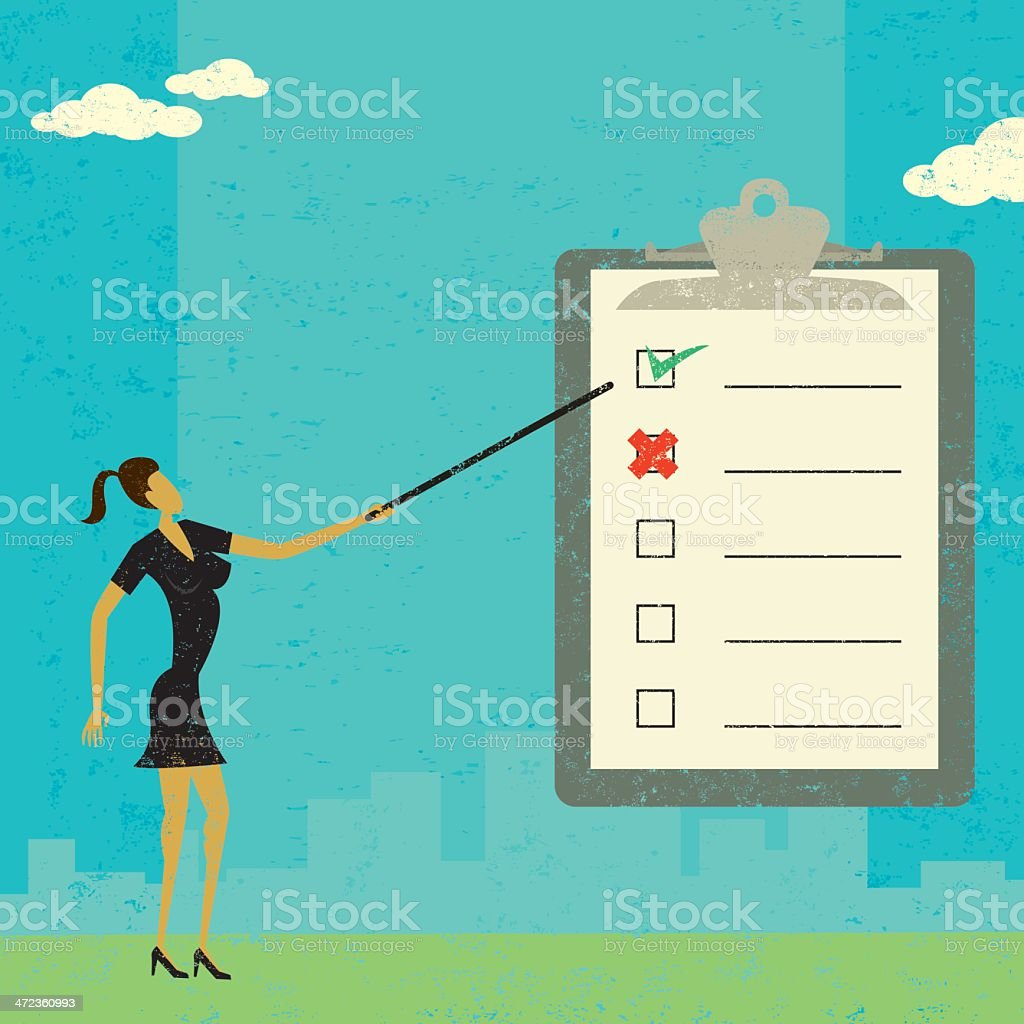 Examining a checklist royalty-free stock vector art