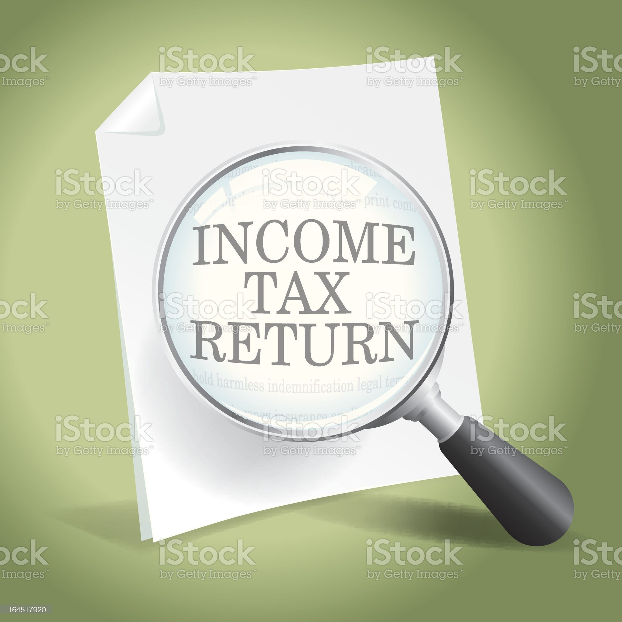 Examining an Income Tax Return royalty-free stock vector art
