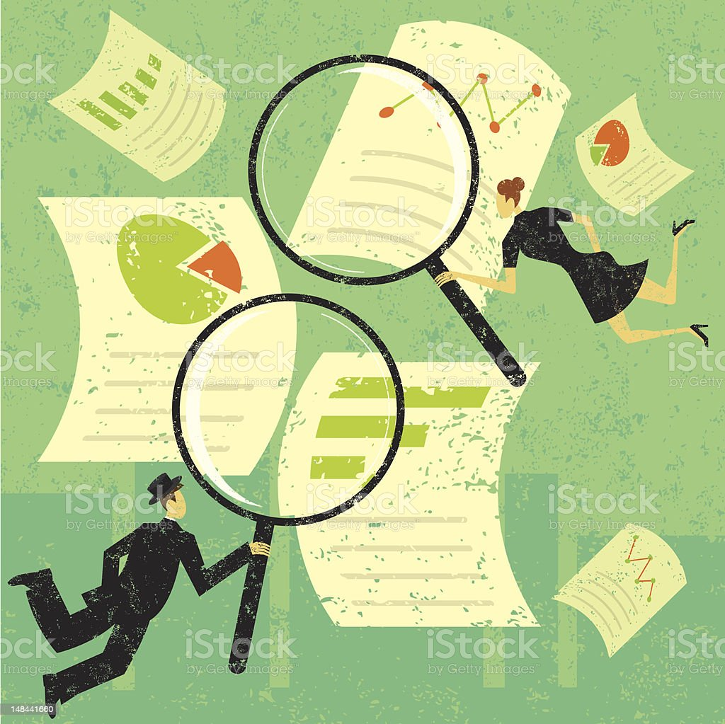 Examining financial documents vector art illustration