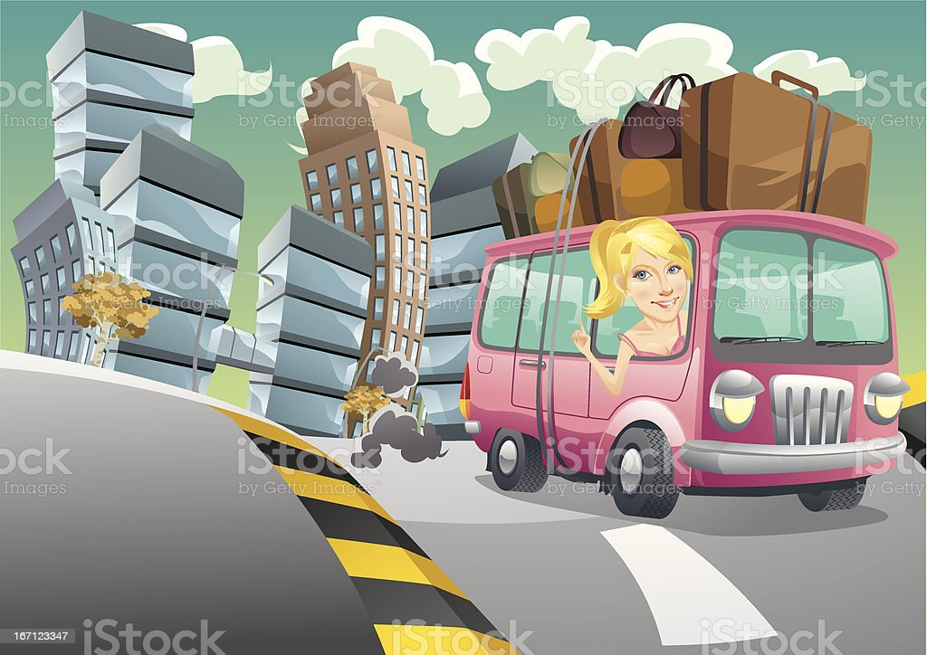 excape from city vector art illustration