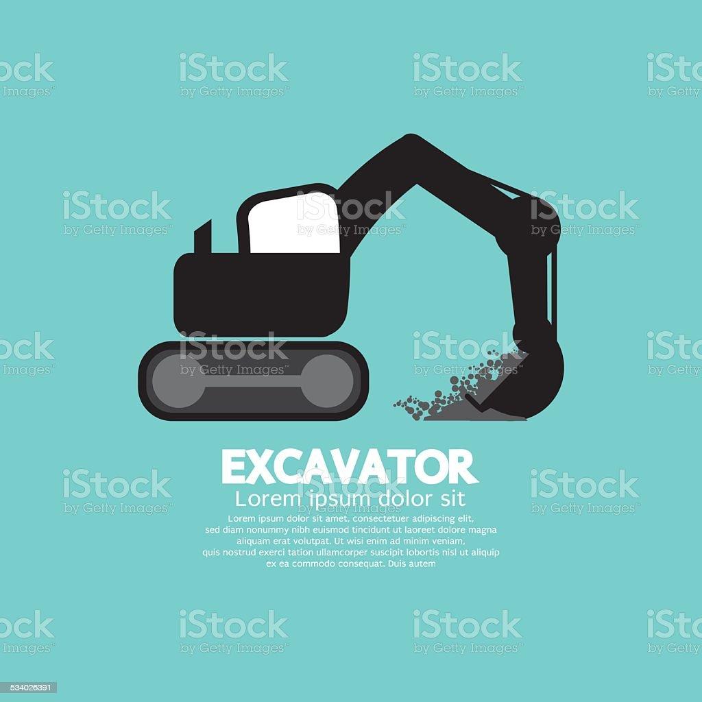 Excavator Black Graphic Symbol vector art illustration