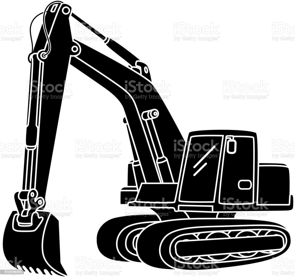 Excavator icon vector art illustration