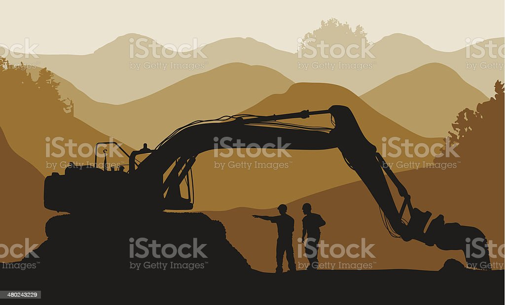 Excavator loader and workers at mine vector art illustration
