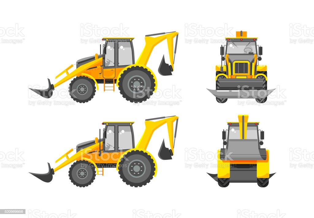 Excavator number one vector art illustration