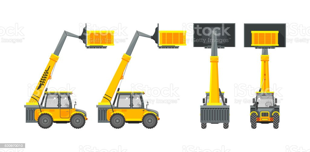 Excavator number two vector art illustration