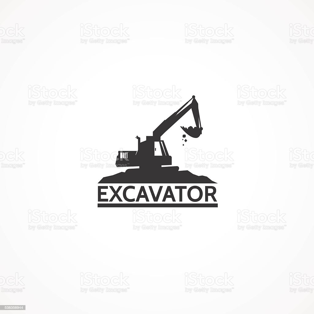 Excavator on the mountain. vector art illustration