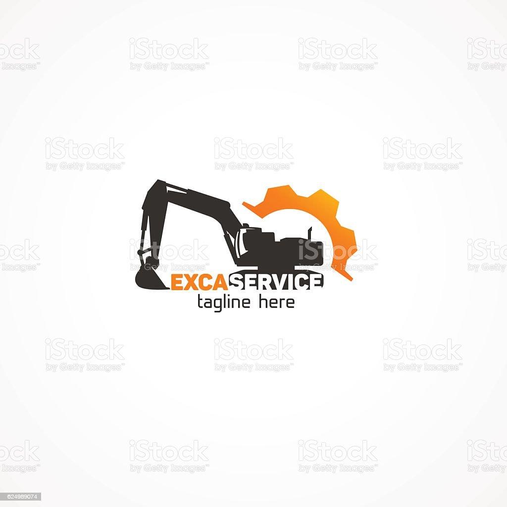 Excavator Service new. vector art illustration