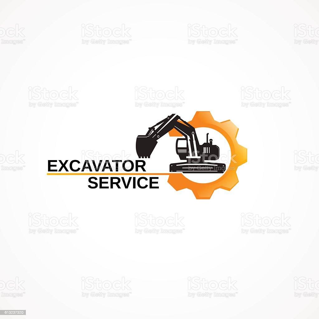 Excavator service. vector art illustration
