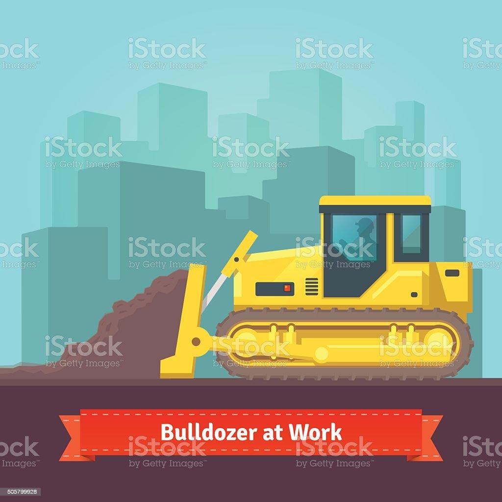 Excavator tractor levelling land vector art illustration