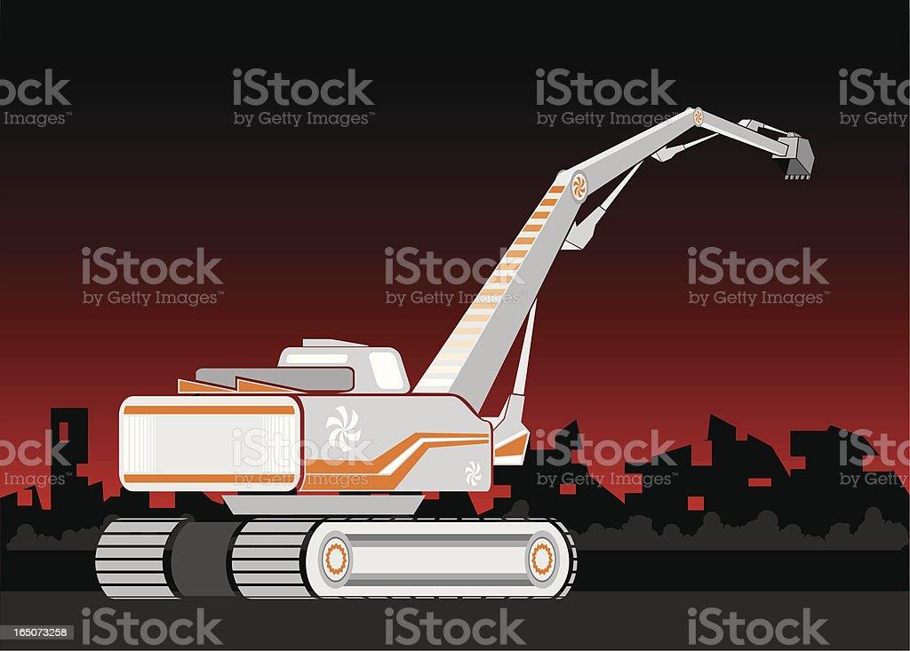 excavator vector art illustration