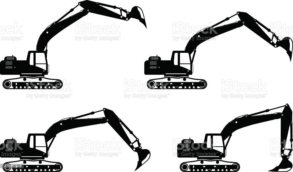 Excavators. Heavy construction machines. Vector illustration vector art illustration