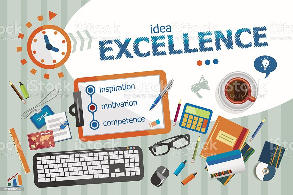 Excellence design concept. Typographic poster. vector art illustration