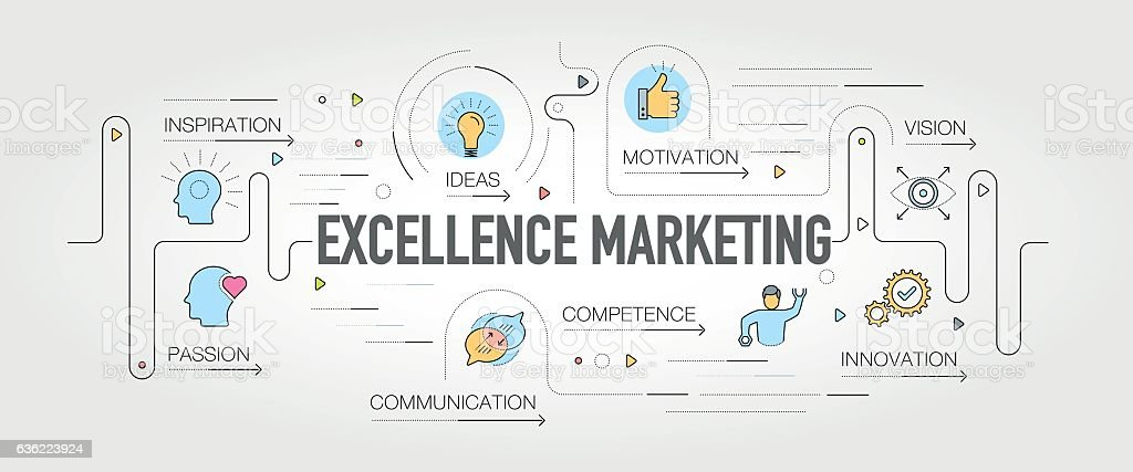 Excellence Marketing banner and icons vector art illustration