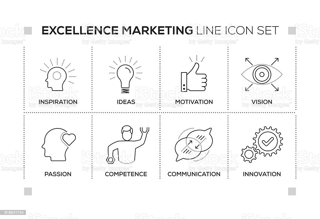 Excellence Marketing keywords with monochrome line icons vector art illustration