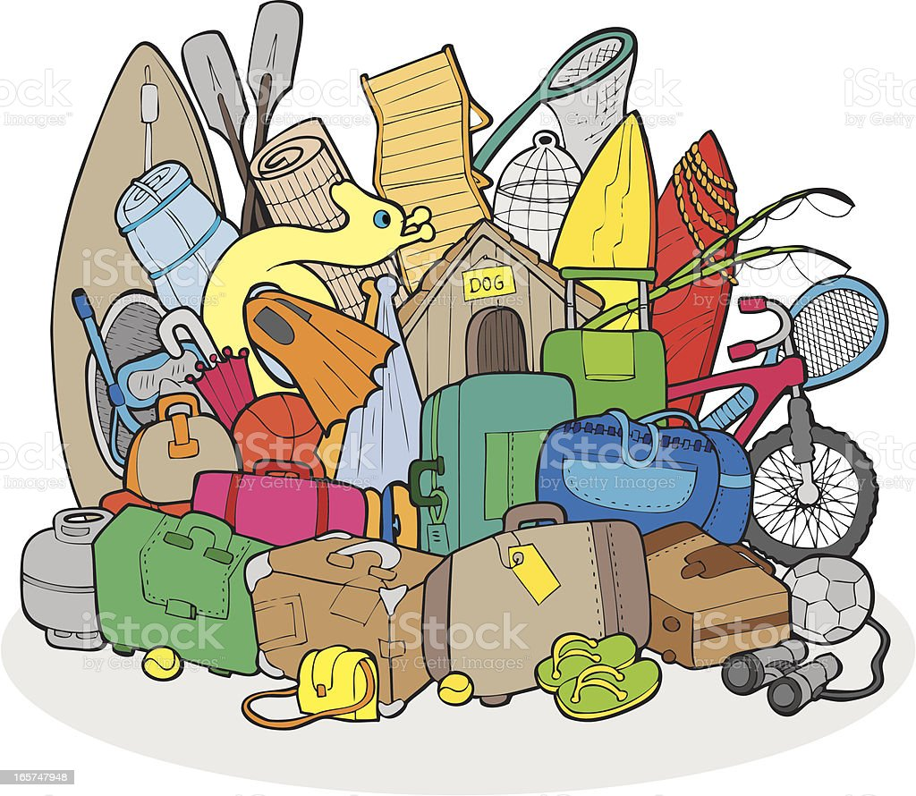 Excess Luggage royalty-free stock vector art