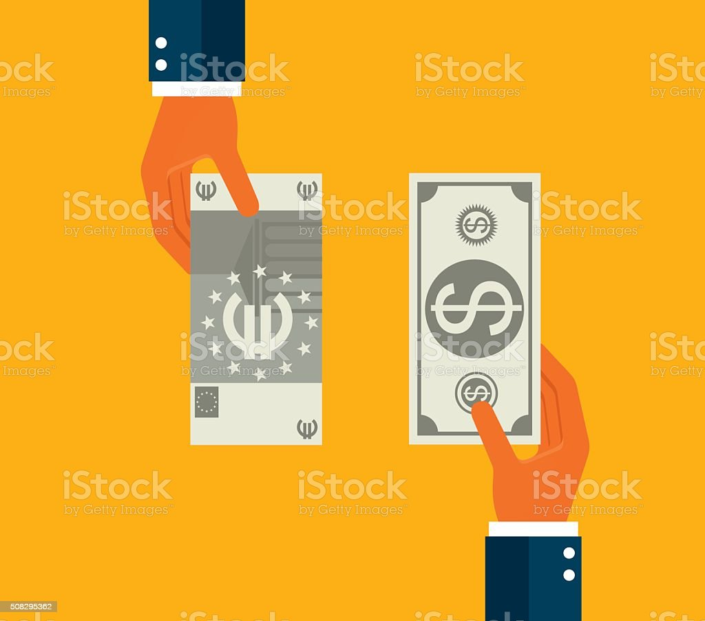 Exchanging dollar and euro vector art illustration