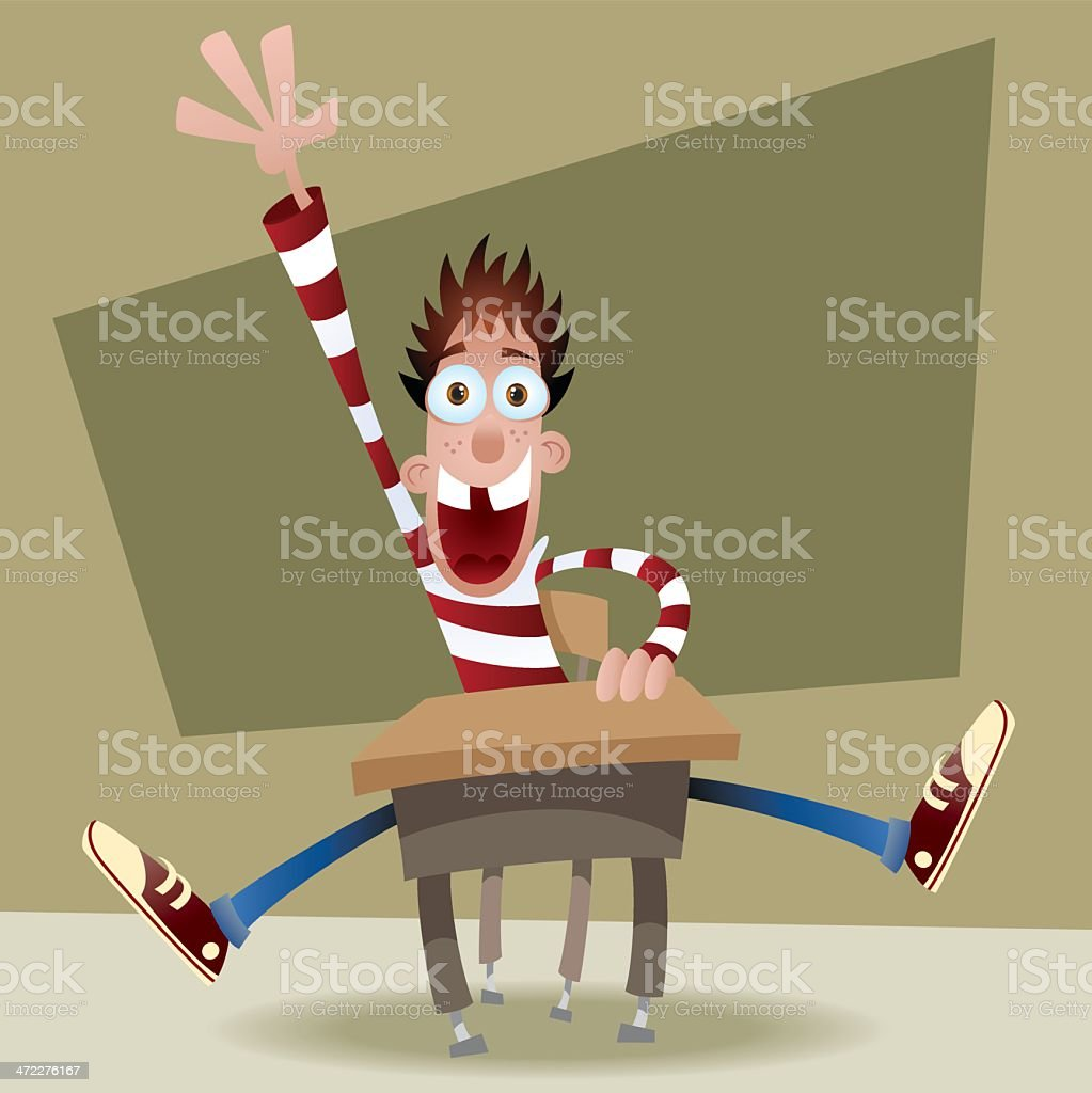 Excited Answer Student vector art illustration