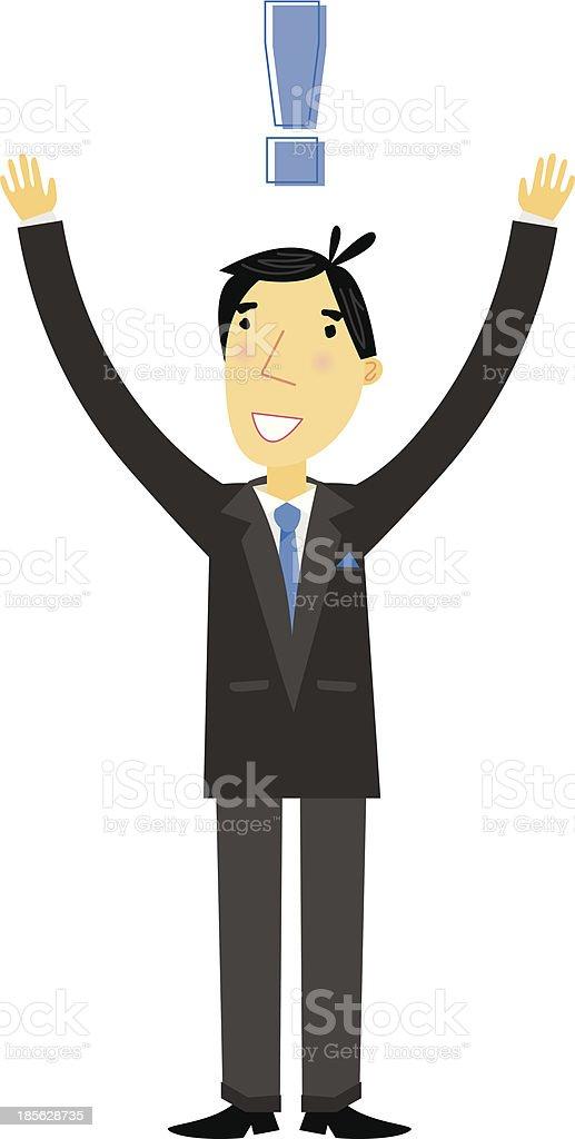 Excited Businessman vector art illustration