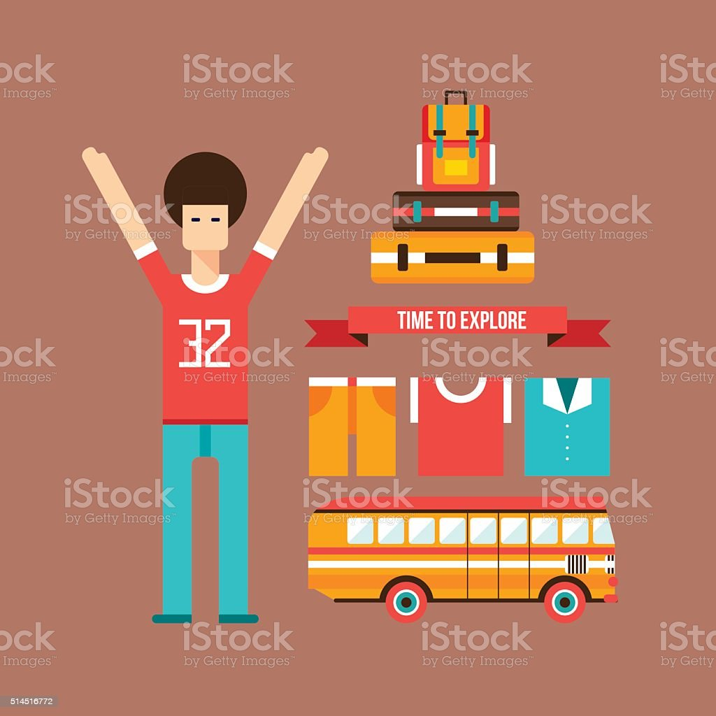 Excited happy young man road trip Vacation Travel Tourism background vector art illustration