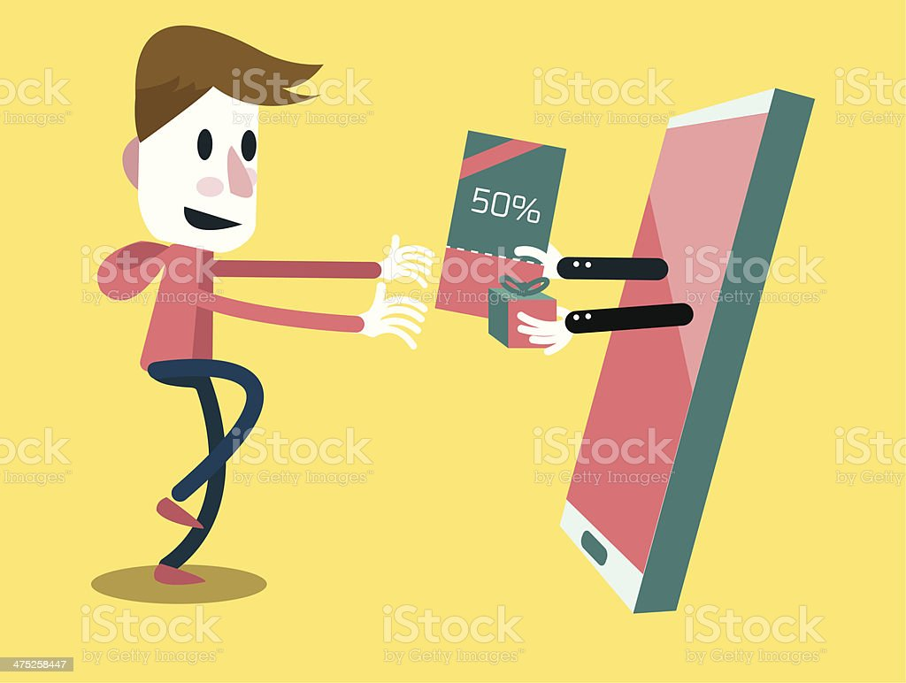 Excited man getting gift voucher from his smart phone. royalty-free stock vector art