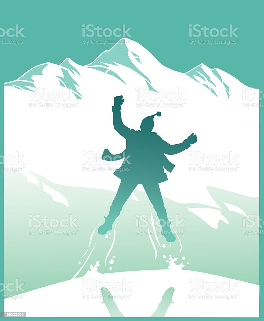 Excited Person Jumping Before the Mountain vector art illustration