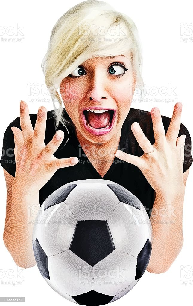 Excited Soccer Fan vector art illustration
