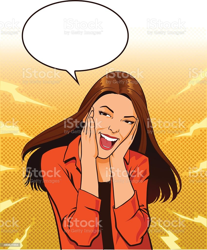 Excited Young Woman Screaming With Speech Balloon vector art illustration