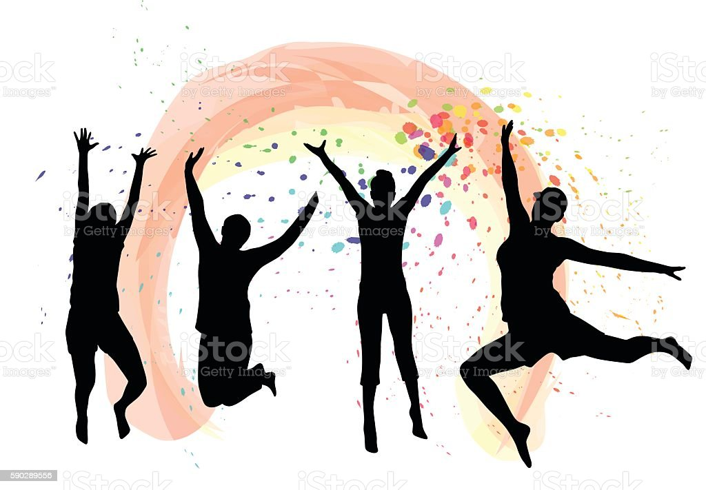 Excitement Jumping Happy vector art illustration