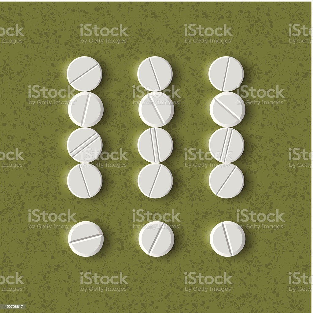exclamation mark of the pills royalty-free stock vector art