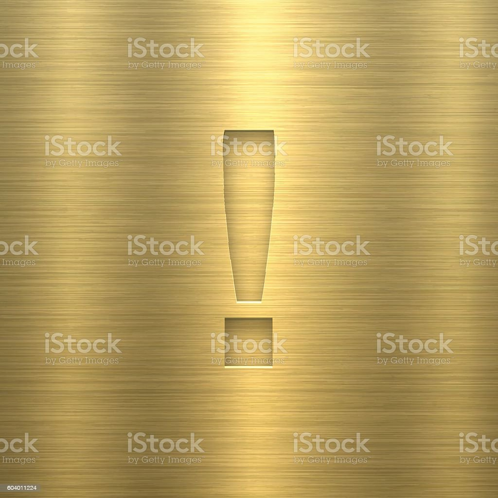 Exclamation mark ! - Symbol on Gold Metal Texture vector art illustration