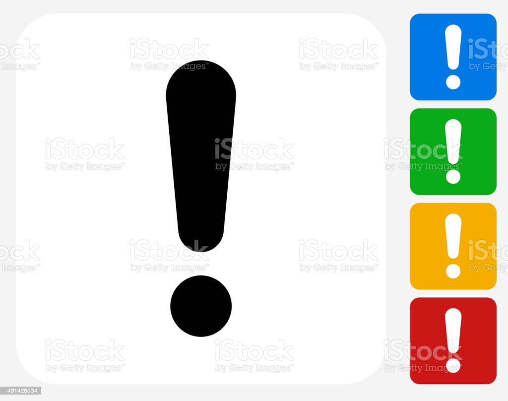 Exclamation Point Icon Flat Graphic Design vector art illustration