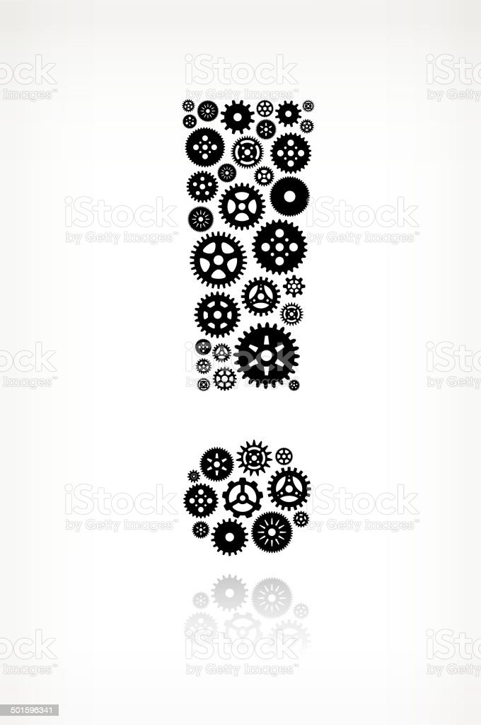 Exclamation Point on Black royalty free vector Gears royalty-free stock vector art