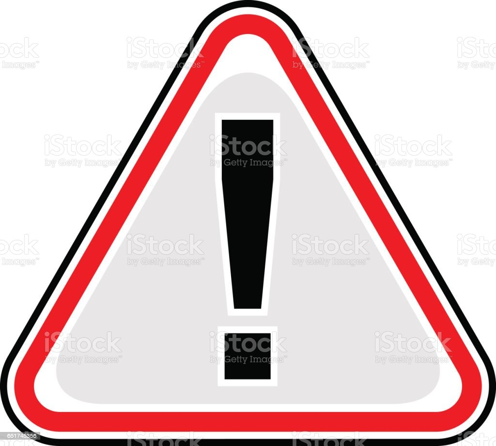 Exclamation Point Warning Icon Attention Hazard Sign vector art illustration
