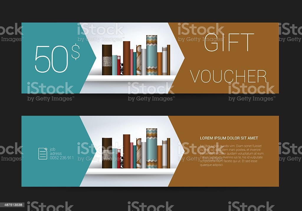 Excllusive Book store gift voucher template. Simply  modern design. vector art illustration